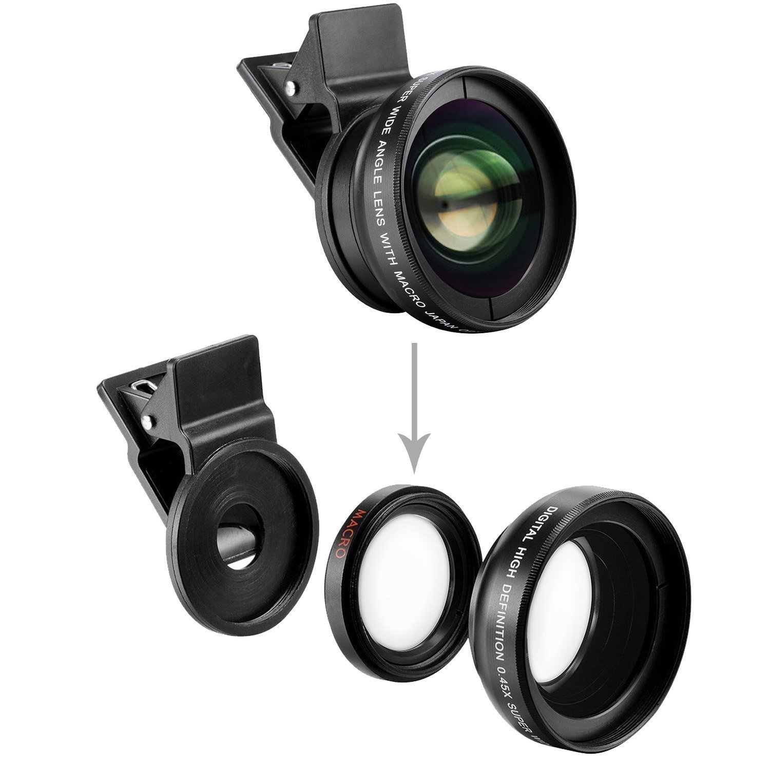 SOCIALITE Professional HD Camera Photo & Video Clip On Lens Kit for iPhone Smartphone 6s 7 8 X Plus Mobile Phone Android, & Samsung 0.45x Super Wide Angle Lens 12.5x Macro by Socialite (Image #4)