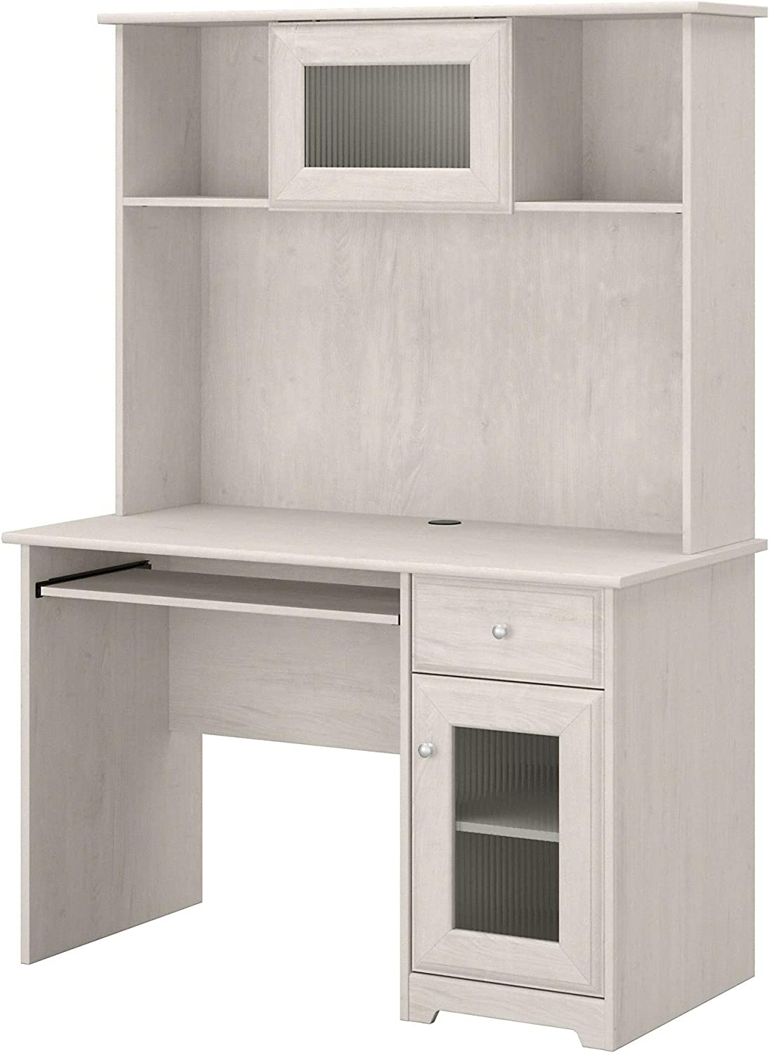 Bush Furniture Cabot Small Computer Desk with Hutch and Keyboard Tray, 48W, Linen White Oak