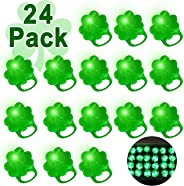 iGeeKid 24 Pack St. Patricks Day Green Shamrocks LED Light Up Ring for Kids Adults St. Patricks Party Accessories Favors LED