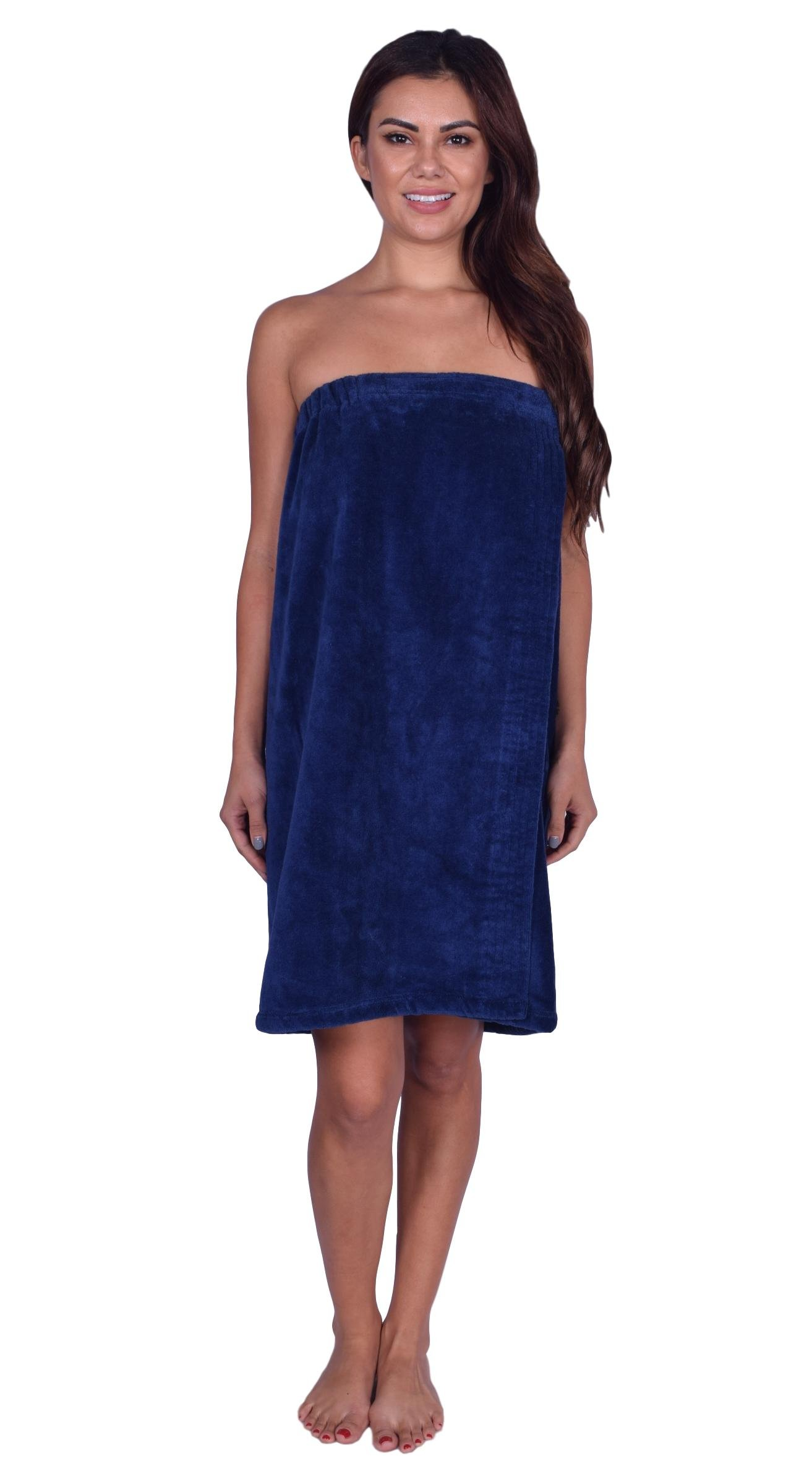 La Calla Women's Bath Wrap -%100 Terry Cotton - Turkish Spa Shower Women Wraps with Adjustable Closure (Navy)