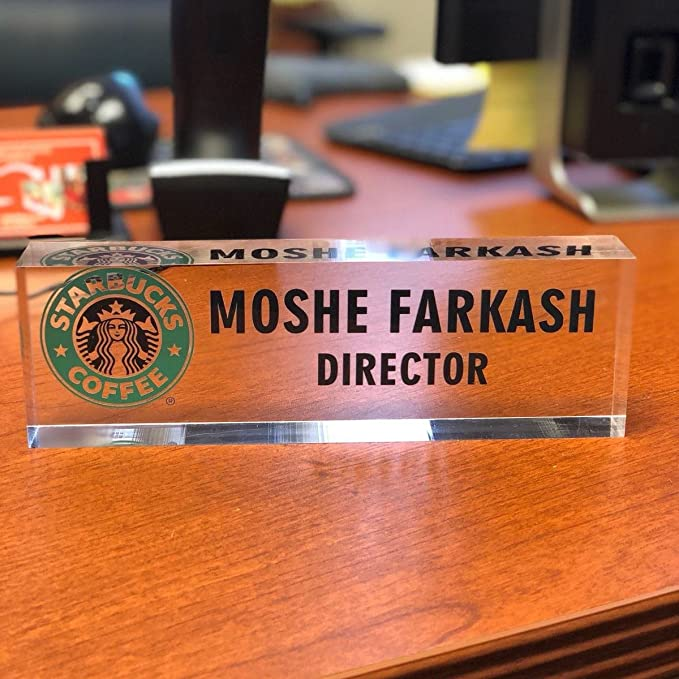Artblox Office Desk Name Plate Personalized Office Desk Decor - 8 x 2.5 Mixed Flowers Design On Clear Acrylic Glass Custom Name Plates for Desks