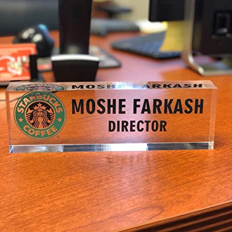 Desk Name Plate Personalized Name, Title & Logo on Premium Clear Acrylic Glass Block Custom