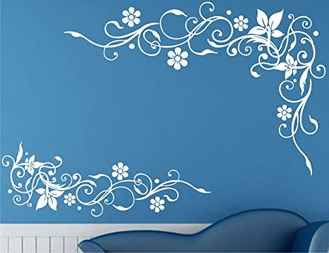 ac5f3860515 Buy Wall Guru Lovely Flower And Vine White Wall Decal And Sticker  Size(59 89)cm Online at Low Prices in India - Amazon.in