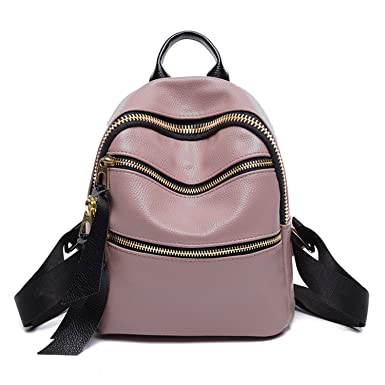 PU Leather Designer Mini Backpack Purse Handbag for Women and Girls (Pink)