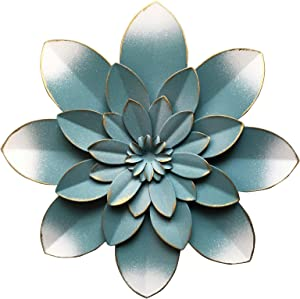 """Picfarce Blue Metal Flower Wall Art Decor, 9.5"""" Rustic Modern Floral Sculpture, Distressed Hanging Home Decoration Accent Artworks for Indoor Bedroom Living Room Office Outdoor Garden Patio"""