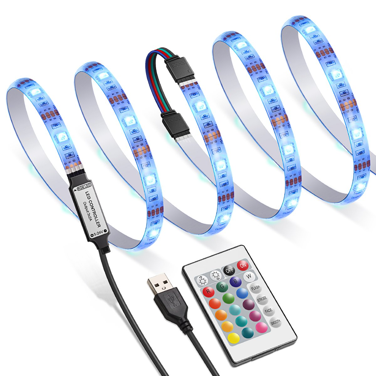 AMIR TV LED Backlight Kit, RGB Light Strip Kit Bias Lighting with Remote Control, USB LED Strip Lights for 40-60 inch HDTV, Monitor PC, Car & More (4pcs x 50cm, 16 Colors & 4 Modes)
