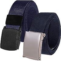 Chalier 2 män bälte nylon kanvas herrbälte steglös justerbar tygbälte, längd 130 cm, med automatiskt spänne MEHRWEG