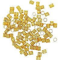 HOMYL 100pcs Fushcia Dreadlock Braiding Beads Hair Braid Cuff Clip 8mm - gold, as described