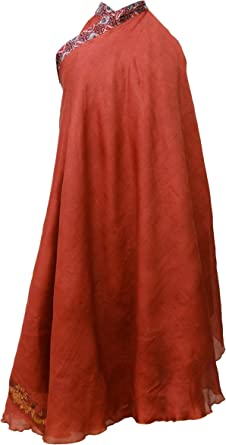 Vestido de Verano de la Falda de Seda Pura Reversible Hippie ...