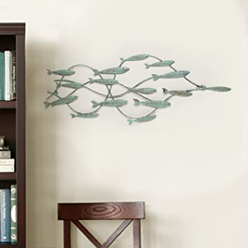 Adeco dn0004 decorative distressed blue iron school of fish wall hanging accents decor widget blue
