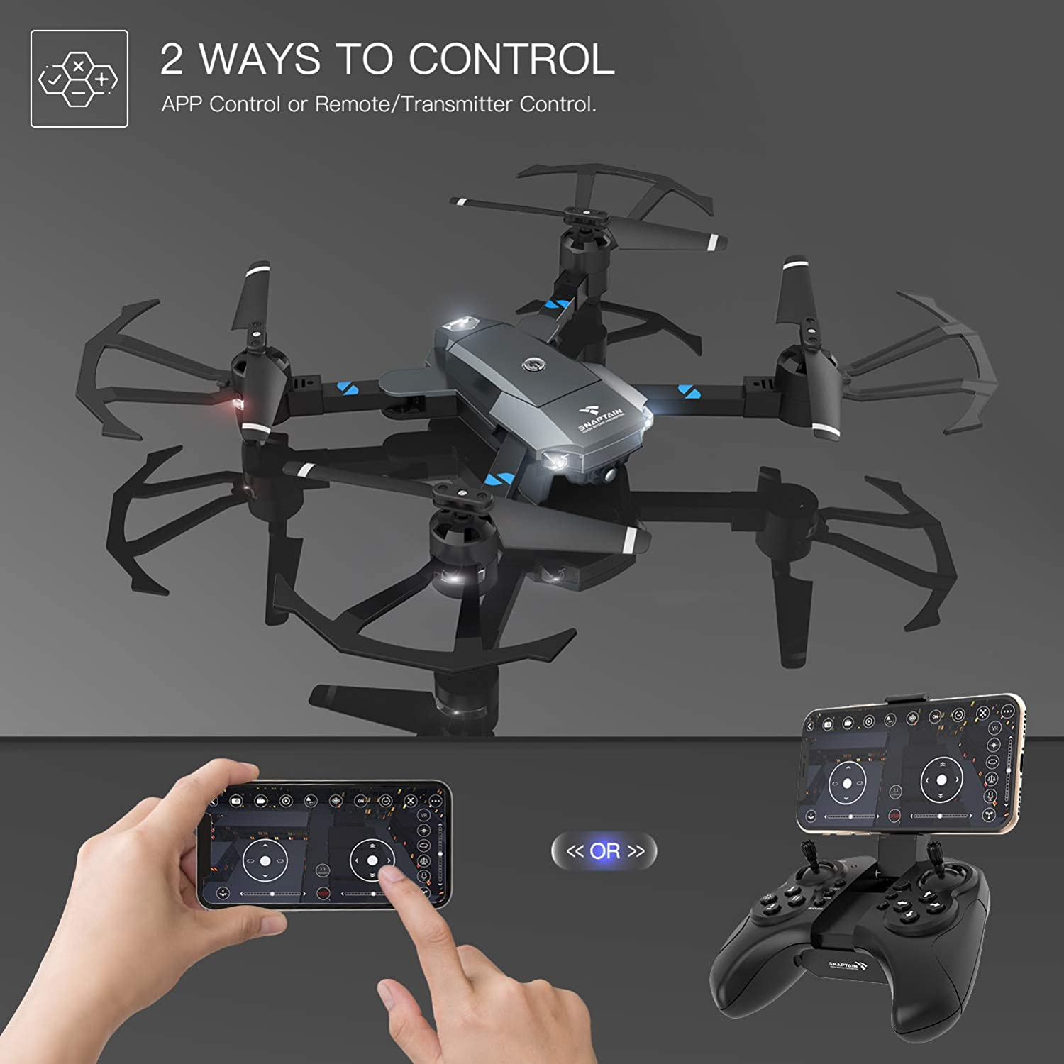 snaptain a15 foldable drone review about APP control via gravity mode and  transmitter control