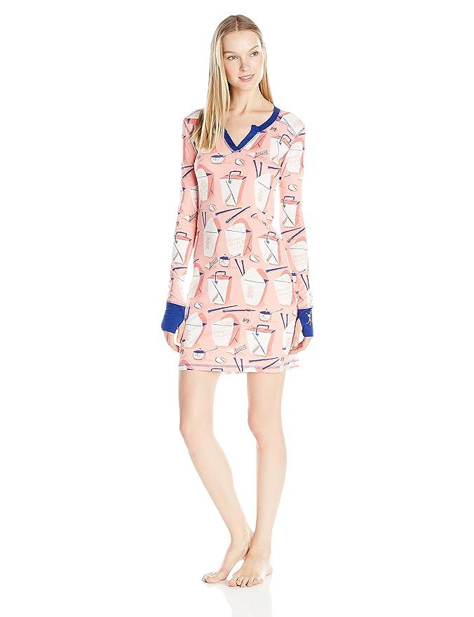 Munki Munki Womens Long Sleeve Split Neck Nightshirt with Thumbholes, Chinese Take Out, Small at Amazon Womens Clothing store: