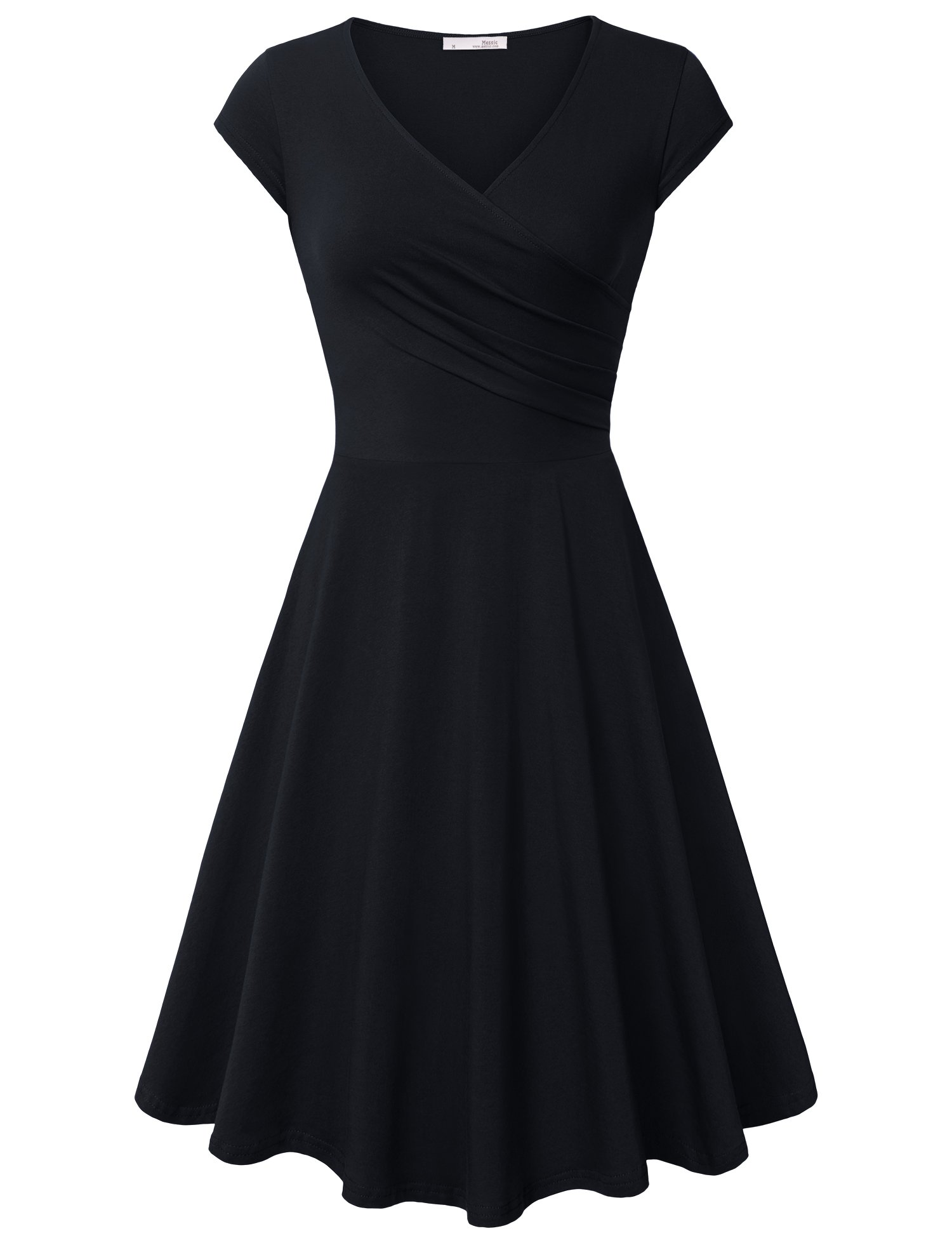 Business Dresses for Women Cap Sleeve Knee Length Sexy Cross V Neck Wrap Elestic Sundresses Black Funeral Dress Casual Party Stretchable Elegant Dresses Black Large by Messic Direct