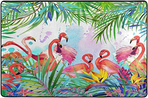 ALAZA Tropical Exotic Pink Flamingo Leaf Watercolor Area Rug Rugs Mat