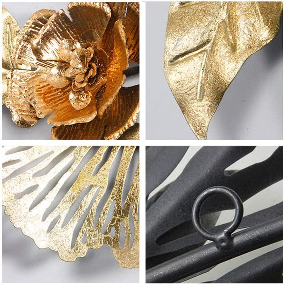 Wandskulpturen Wanddeko Garten Metall Handgemachte Schmiedeeisenwanddekoration Kreative Hauptwanddekoration Metallkunst Color : Gold, Size : 90 * 45cm