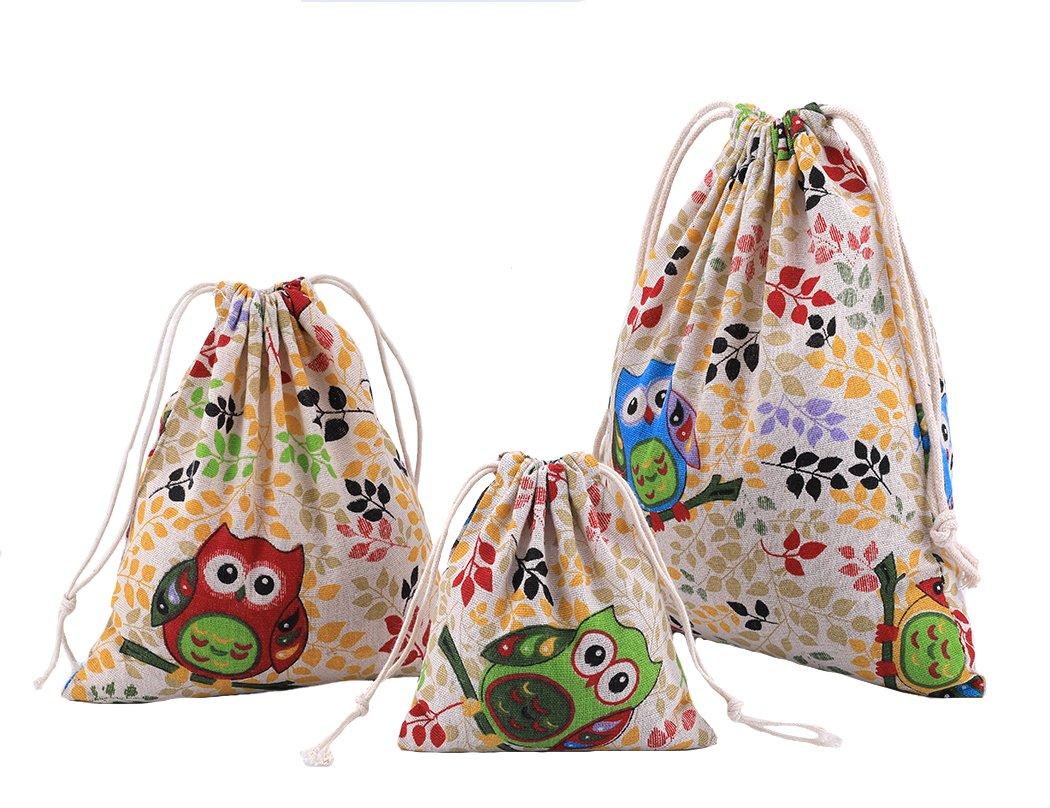 Abaría - 3 unidades bolsa de algodón con cuerdas – Pequeña saco bolsas - Bolsa inserto organizador para bebé ropa juguete pañales - Bolsa de regalo - 25x 30 cm, 19 x 23 cm, 14 X 16 Amoyie