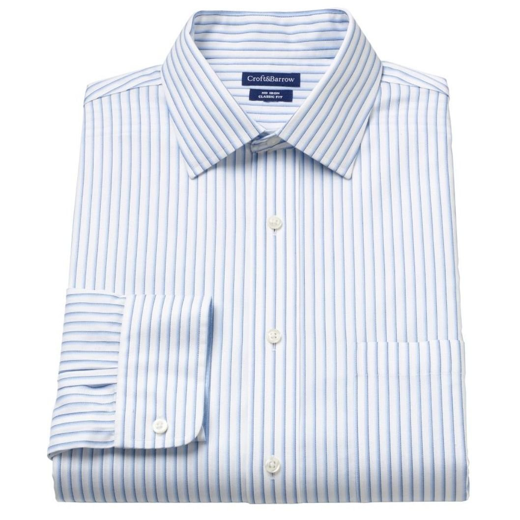 Croft Barrow Mens Classic Fit 100 Cotton No Iron Dress Shirt