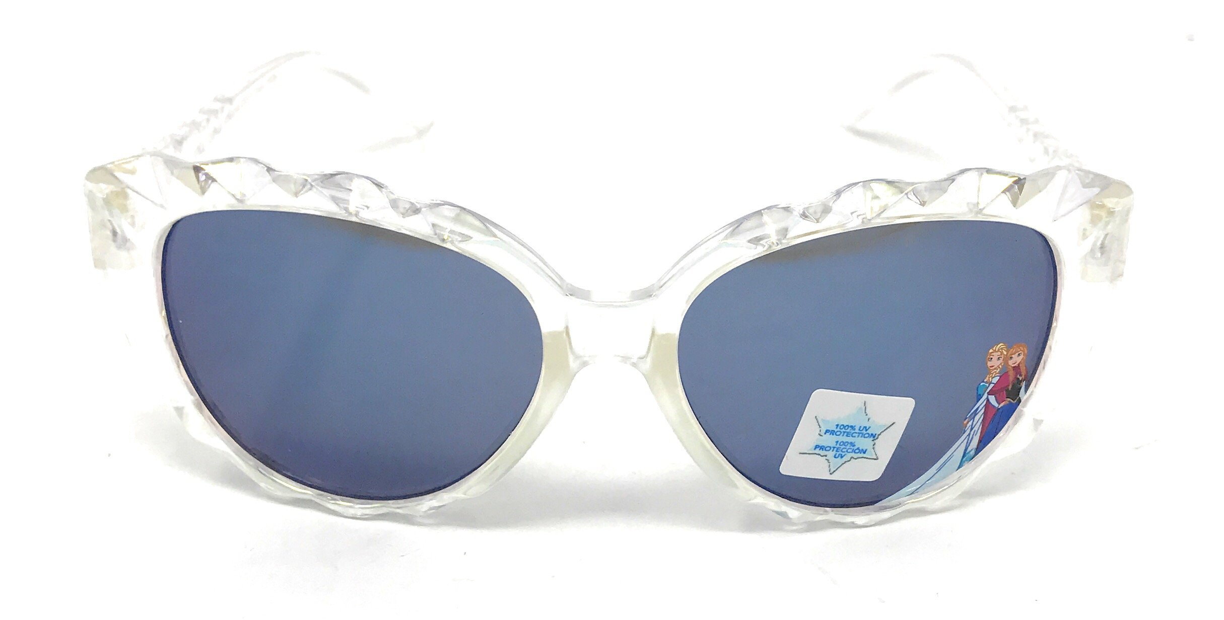 Disney Frozen Girl's Sunglasses in Crystal Diamond Design with Elsa and Anna Character on Lenses - 100% UV Protection