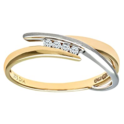 Naava Women's 9 ct Yellow and White Gold Round Brilliant Cut Diamond Crossover Ring 4ULHq