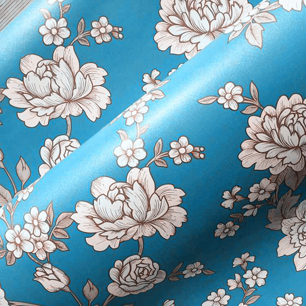 BESTERY Vintage Floral Self-Adhesive PVC Contact Paper Shelf Liner Peel & Stick Dresser Drawer Sticker Home Deco 17.7inch by 118inch (Blue)