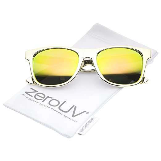 c3ac04dc15 Retro Metallic Square Colored Mirror Lens Horn Rimmed Sunglasses 55mm (Gold Yellow  Mirror)