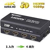 Tendak HDMI分配器 HDMI切替器 HDMIスプリッター 4出力 1入力 4K 3D 対応 同時出力 HDTV/Blu-Ray player/DVD /Roku DirecTV/Xbox / PS3/4など 1年保証期間