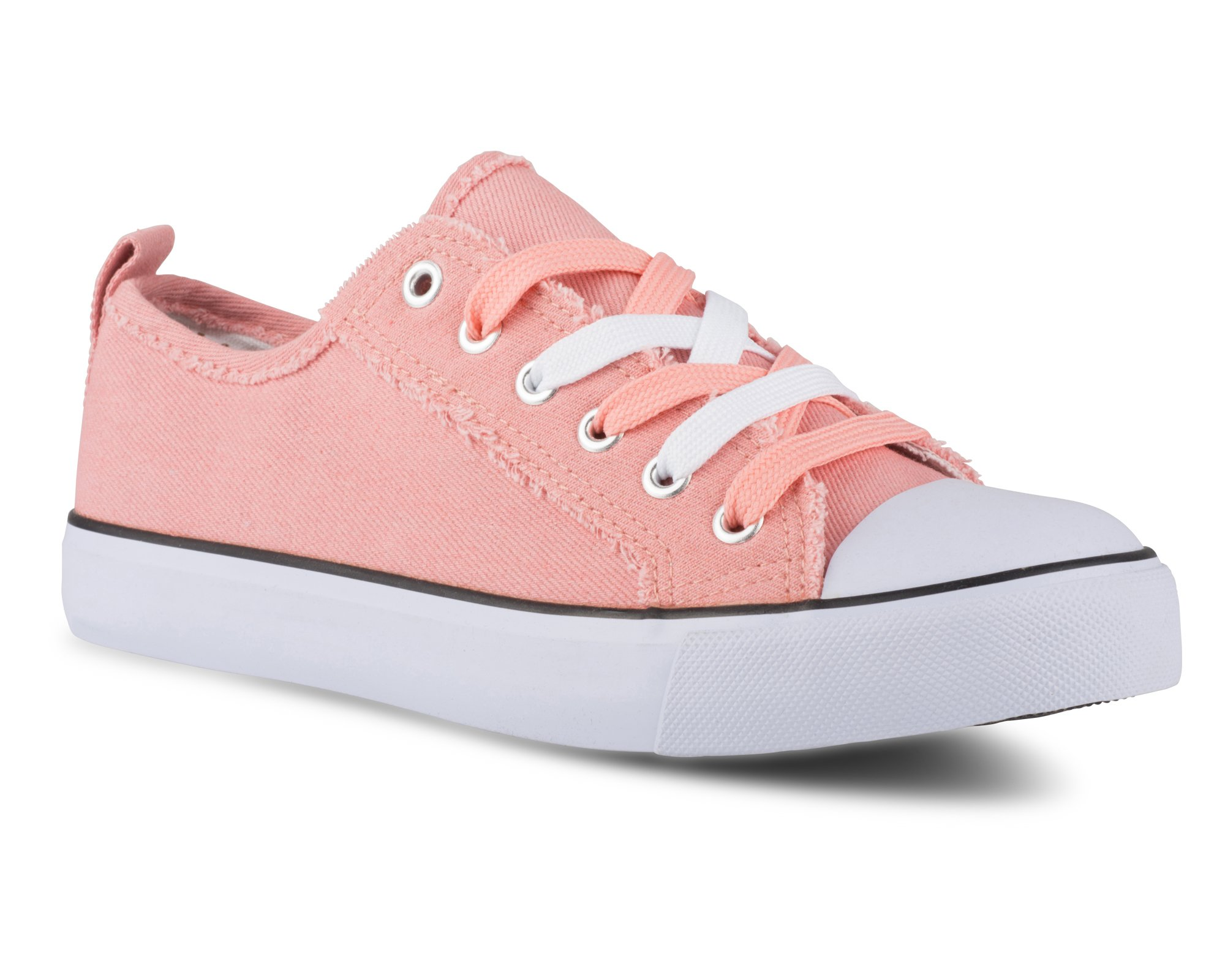 Twisted Women's KIX Lo-Top Frayed Edge Sneakers -KIXLO192SALMON, Size 8
