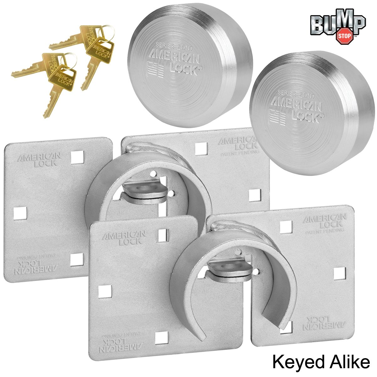 American / Master Lock (2) Hidden Shackle and Hasp Combo A801 - A2010NKA-2 w/ Bumpstop Technology
