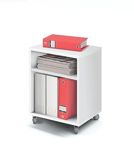Abitti Buck cajonera con Ruedas Color Blanco Brillo y 2 estantes para Mesa Escritorio de Oficina