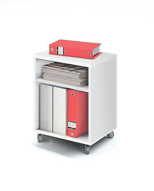 Abitti Buck cajonera con Ruedas Color Blanco Brillo y 2 estantes para Mesa Escritorio de Oficina, despacho o Estudio. 55cm Altura x 40cm Ancho x 40cm ...