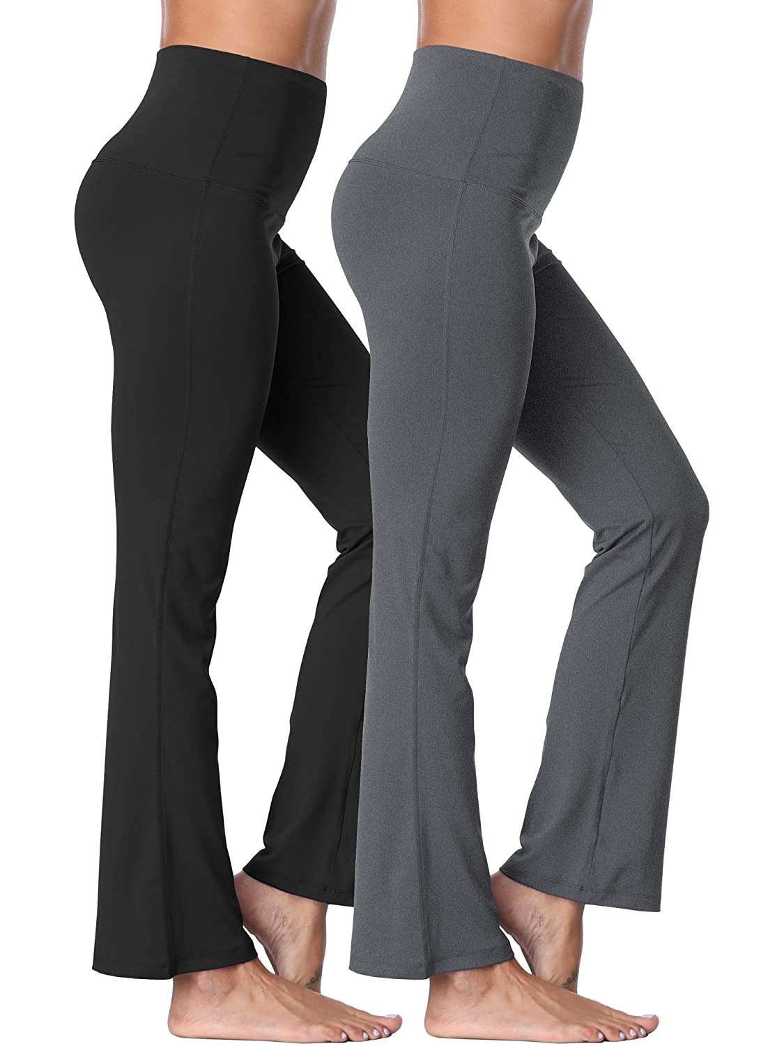 106  Black Grey, 2 Pack Neleus High Waist Running Workout Leggings for Yoga with Pockets