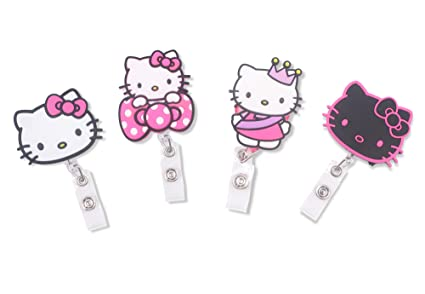 6ca8921bb Image Unavailable. Image not available for. Color: Finex Set of 4 Hello  Kitty Badge ID Clip Reel Retractable Holder Office Work Nurse Name