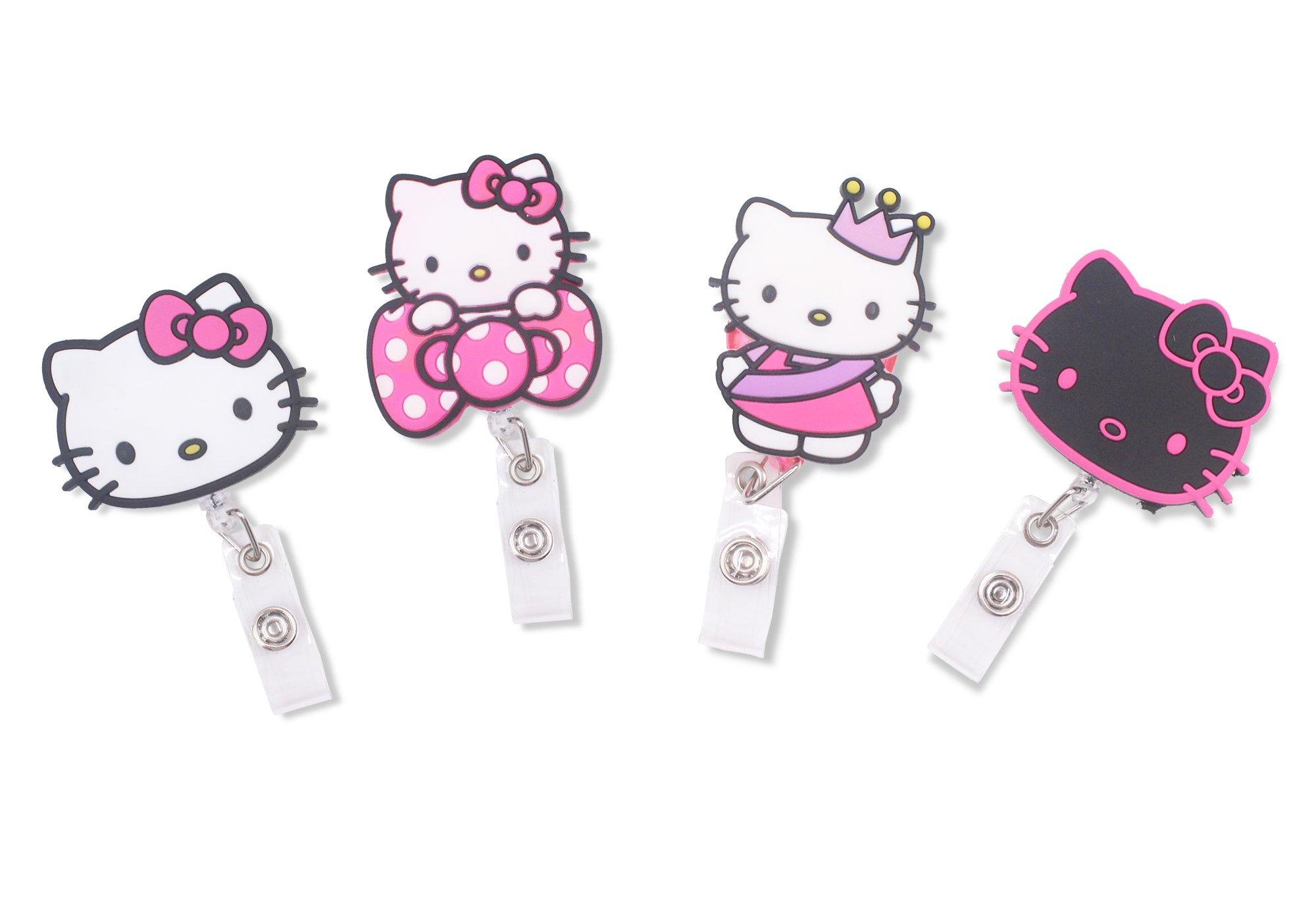 Finex Hello Kitty Set of 4 Retractable Badge Holder ID Badge Reel Clip On Card Holders