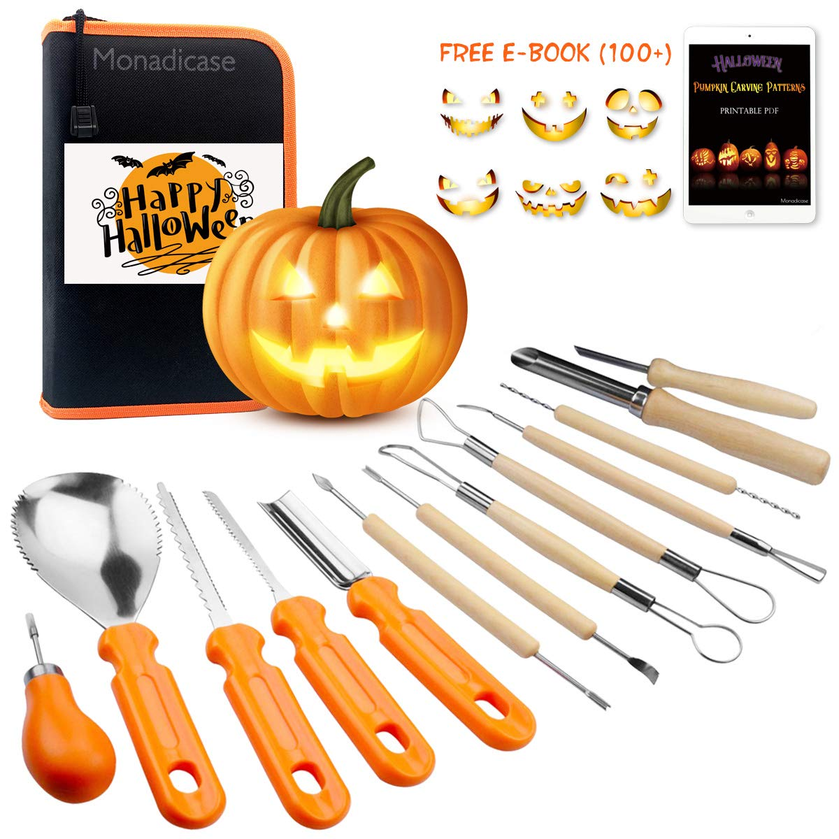 Halloween Pumpkin Carving Tool Kit 13 Pcs, Ultimate Sculpting Tools Pottery Art Set, Sturdy Stainless Steel Pumpkin Tools Knifes Gifts for Christmas Thanksgiving Fathers Day Kids Birthday by Monadicase