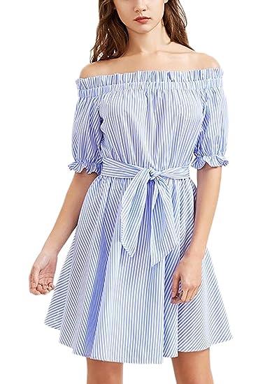 Lanceyy Mujer Vestidos Cortos Verano Fashion Flecos Vestido De Verano Manga Corta Sencillos Especial Barco Cuello