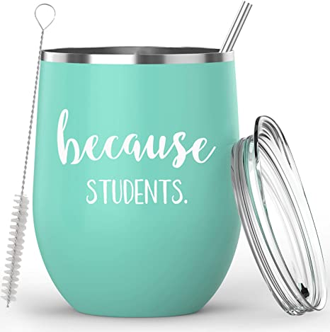 Funny Wine Lover Teacher Gift Because Virtual Teaching White Stainless Steel Wine Tumbler 12 oz with Lid