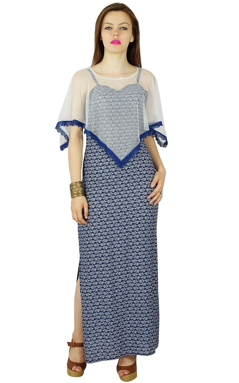 Bimba Frauen lange blau Maxi-Kleid mit einem Netto-Poncho Sommerkleid mit Seitenschlitz