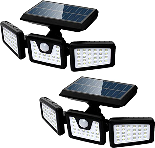 Solar Security Lights, 3 Head with Motion Sensor Wall Lights Adjustable 70LED Solar Flood Lights Outdoor Spotlights 180 Rotatable IP65 Waterproof for Garage Pathway Porch Garden Patio Yard, 2 Pcs