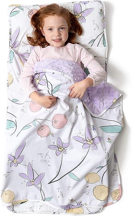 Tapis de sieste pour enfant pyjama Sac de couchage pour enfant avec oreiller amovible pour maternelle garderie Design original : licorne Pixie Dust 43 x 21 pouces JumpOff Jo