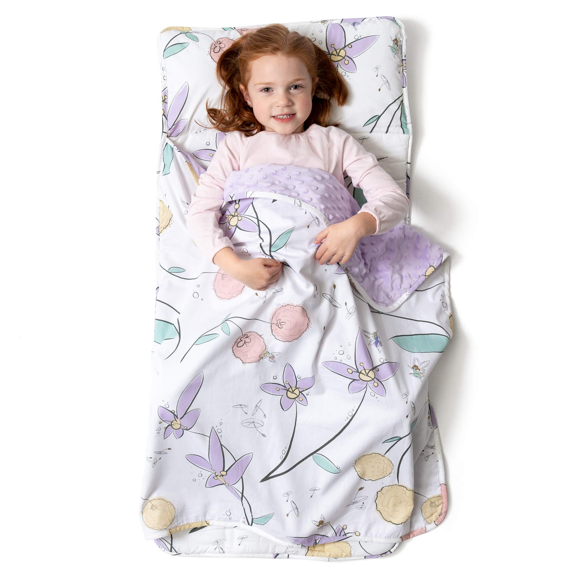 JumpOff Jo - Little Jo's Toddler Nap Mat - Children Sleeping Bag with Removable Pillow for Preschool, Daycare, and Sleepovers - Original Design: Fairy Blossoms (43'' x 21'') by JumpOff Jo