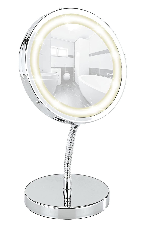 Wenko 3656360100 Specchio Cosmetico da Appoggio con LED Brolo, Illuminato, Orientabile, Acciaio, Vetro, 15 x 16,5 x 13 cm, Cromo