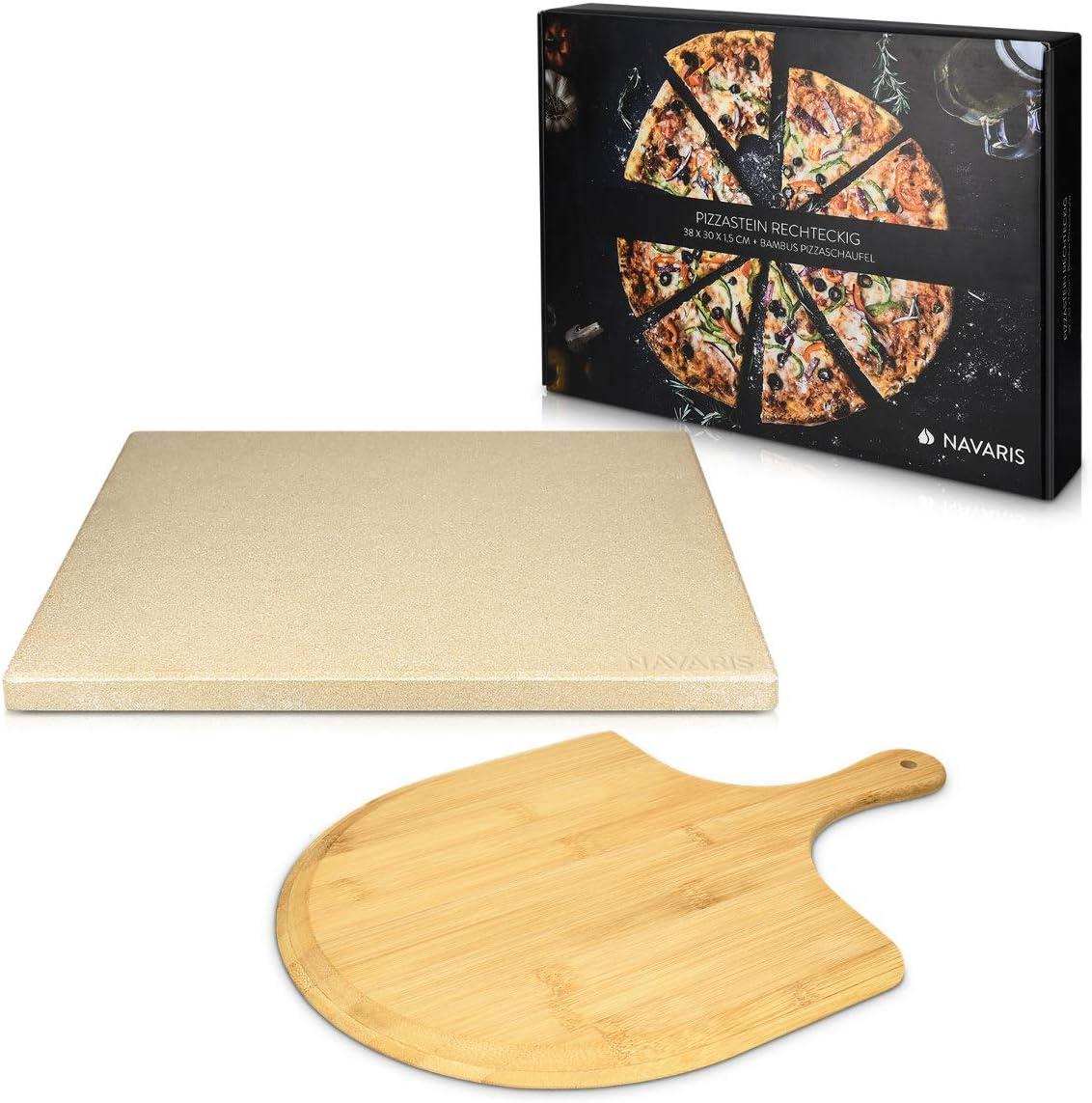 Navaris Set de piedra y pala para pizza - Piedra para horno de cordierita y pala de bambú - Bandeja para parrilla barbacoa y grill de 38 x 30 CM