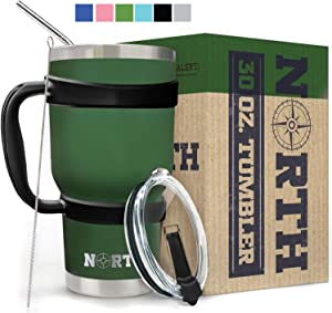 Army Green North Stainless Steel Vacuum Insulated 5-Piece Tumbler Set, 30 oz, Travel Mug For Home, Office, School – Like Yeti Tumbler For Ice Drink & Hot Beverage