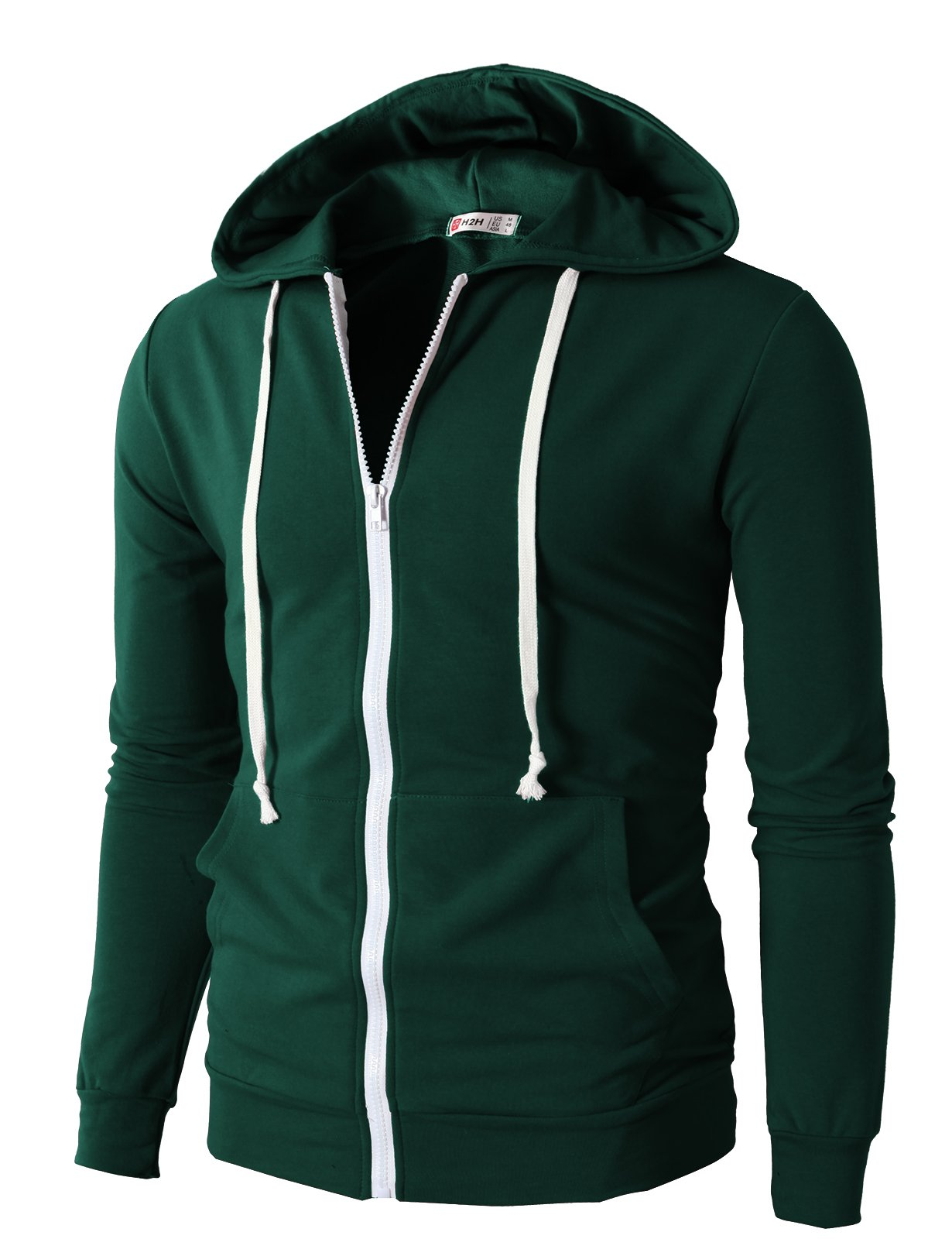 H2H Men's Casual Striped Drawstring Hooded And Zipper Closure Hoodies FORESTGREEN US XL/Asia XXXL (JNSK24) by H2H (Image #1)