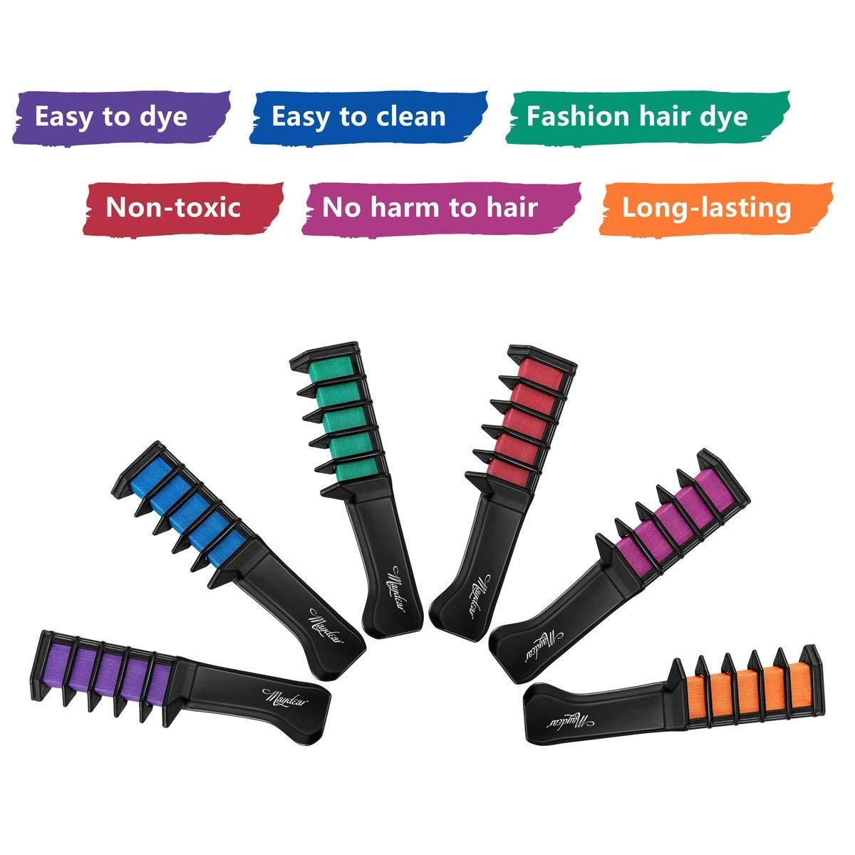 Maydear Temporary Hair Chalk Comb-Non Toxic Washable Hair Color Comb for Hair Dye-Safe for Kids for Party Cosplay DIY (6 Colors) by Maydear (Image #2)