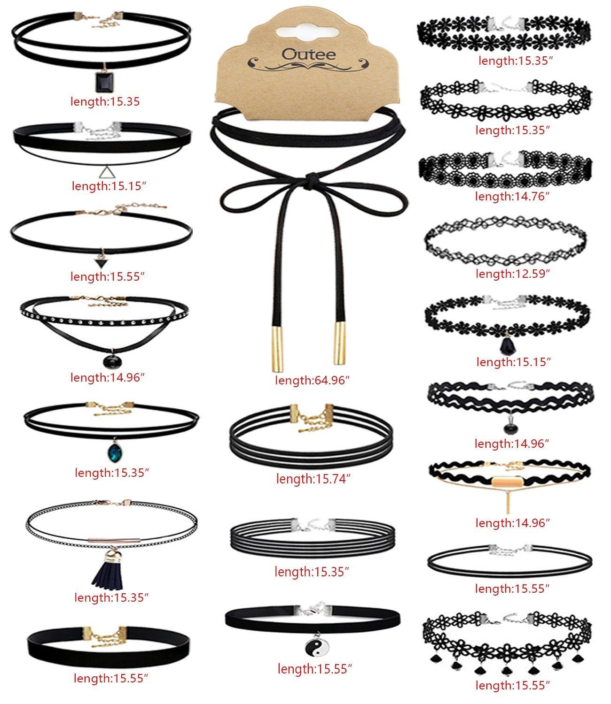 Outee 20 PCS Black Charm Choker Set Velvet Choker Necklaces for Women Girls 1hx4DfpR