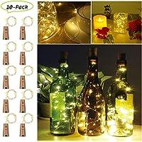 LED Bouteille Guirlande, Etmury Bouchon Lumineux Bouteille 2M Lampes De Liège Cuivre Fil [Paquet de 10] Lampes de Bouteille, Blanc Chaud