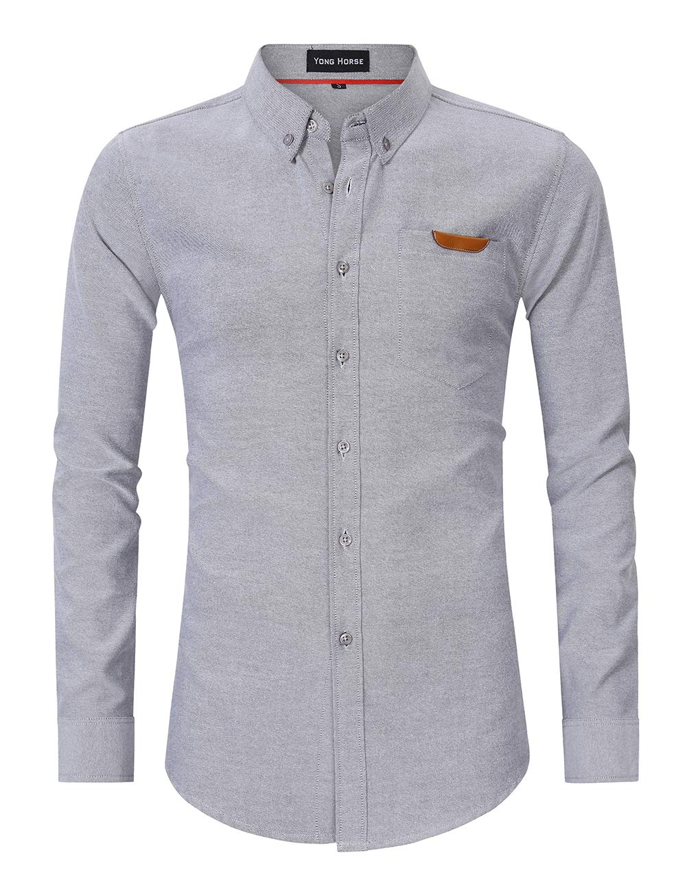 Men\'s Casual Slim Fit Button Down Dress Shirt Long Sleeve Solid Oxford Shirts (XX-Large, Grey)
