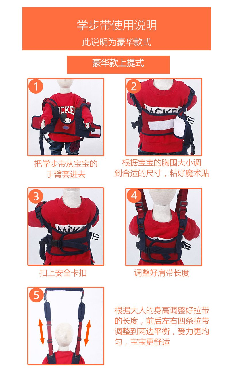 Breathable and Comfortable TRMB Handheld Baby Walker Safe and Non-Toxic Toddler Safety Harness to Prevent Baby Falling Pulling and Lifting Dual Use