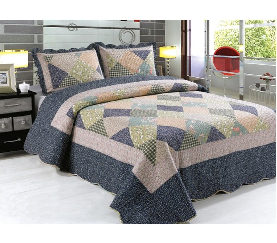3 Piece Quilted Embroidered Patchwork Bedspread Throw Set Comforter Pillow Case Double King Size Bed A-Express
